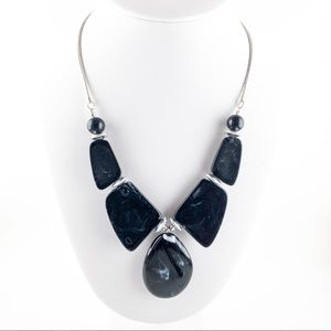 Black Marble Textured Resin Statement Necklace